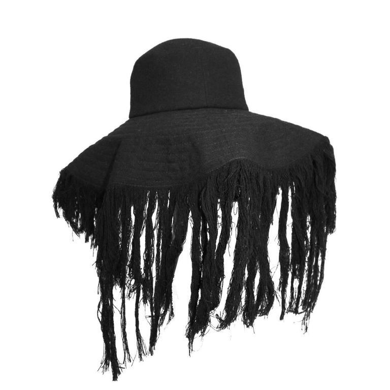 Rare Haute Couture Yohji Yamamoto frayed wide brim cashmere wool hat c. 2013 For Sale