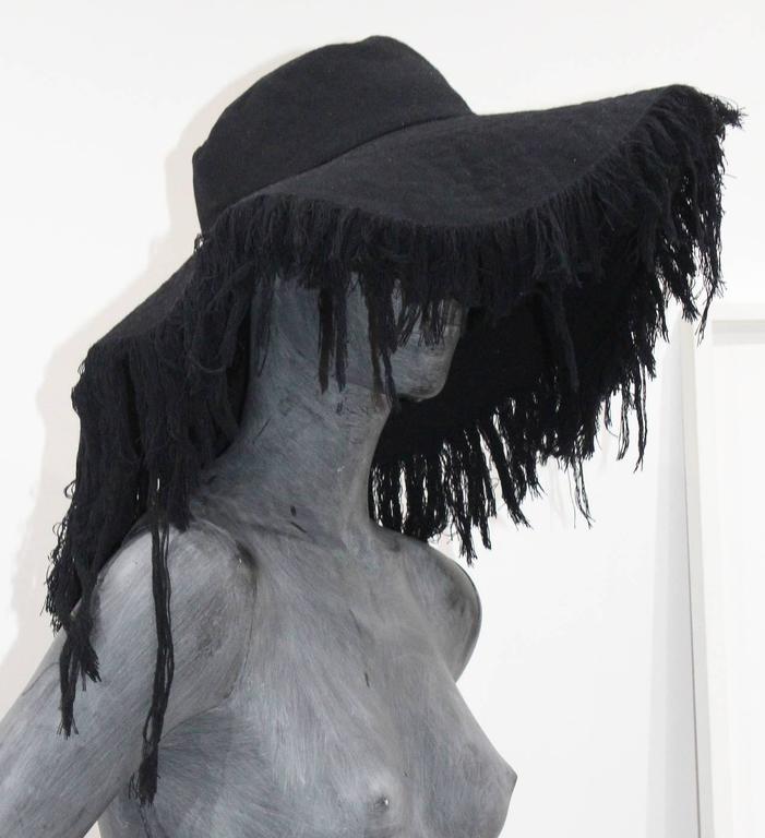 Women's Rare Haute Couture Yohji Yamamoto frayed wide brim cashmere wool hat c. 2013 For Sale