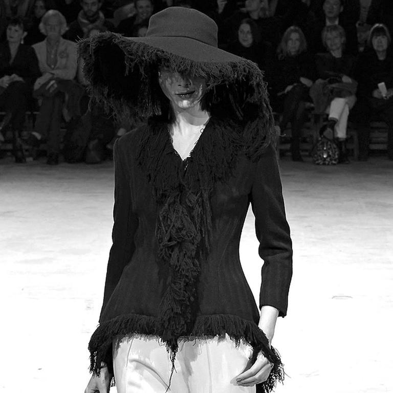Rare Haute Couture Yohji Yamamoto frayed wide brim cashmere wool hat c. 2013 For Sale 2