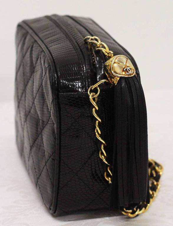 5c0e7b575b53 Black Vintage Chanel quilted black lizard skin camera bag with tassel c.  1989 For Sale