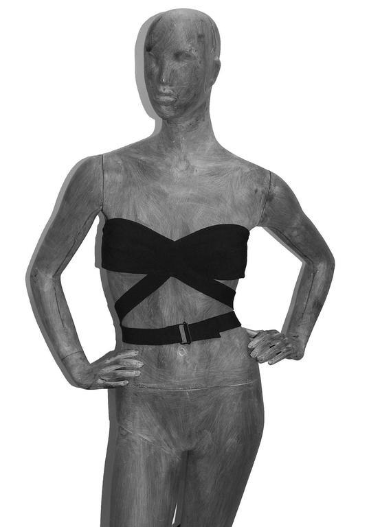 Black important Alaia black bondage bra top c. 1987 For Sale