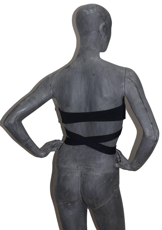 important Alaia black bondage bra top c. 1987 In Good Condition For Sale In London, GB