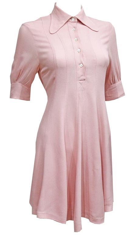 1960s Ossie Clark Baby Pink Mini Dress  1