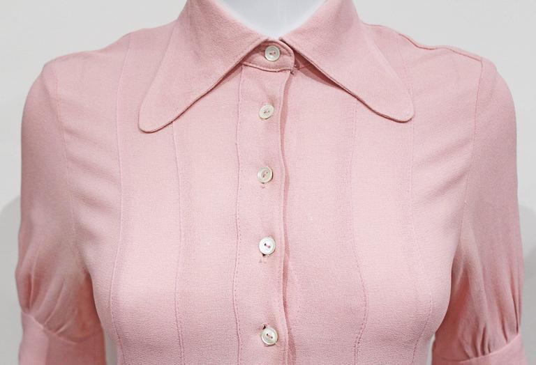 1960s Ossie Clark Baby Pink Mini Dress  2