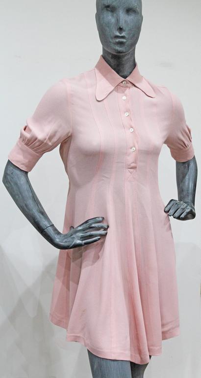1960s Ossie Clark Baby Pink Mini Dress  3