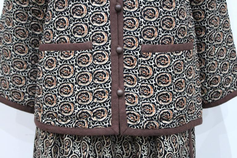 1970s Yves Saint Laurent Quilted Paisley Skirt Suit  2