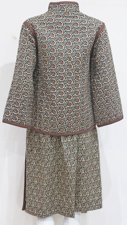 1970s Yves Saint Laurent Quilted Paisley Skirt Suit  3