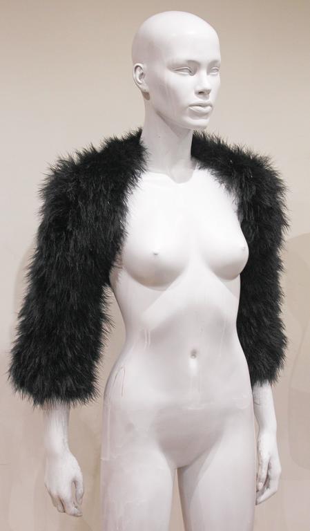 Alexander McQueen Black Marabou Fur Bolero Jacket c. 2005 3