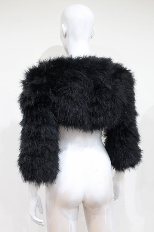 Alexander McQueen Black Marabou Fur Bolero Jacket c. 2005 4