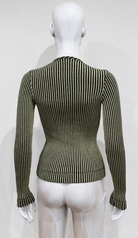 Jean Muir lurex rib knit body-con sweater, c. 1970s In Excellent Condition For Sale In London, GB