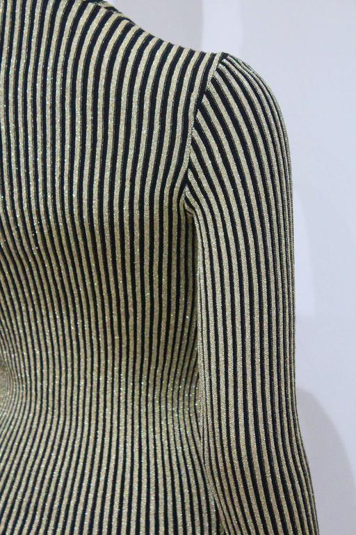 Jean Muir lurex rib knit body-con sweater, c. 1970s 5