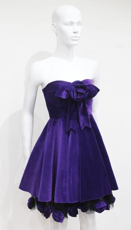 Monica Chong floral applique velvet cocktail dress, c. 1992 2