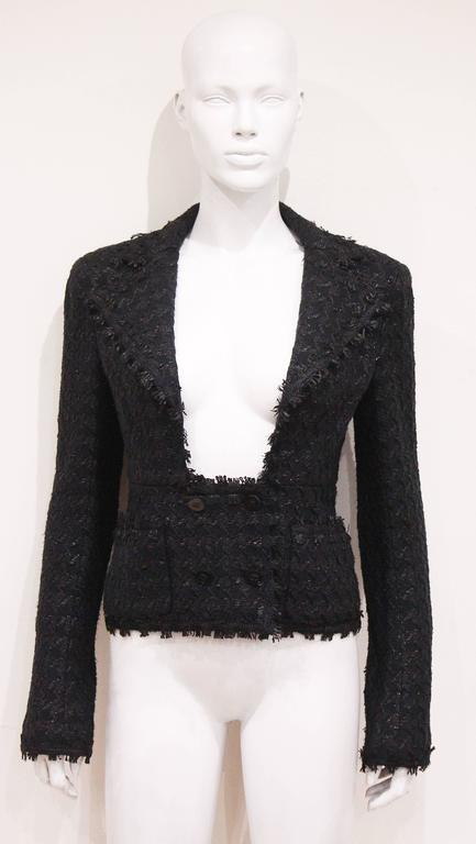 Chanel low plunge fantasy tweed black jacket, c. 2005 2