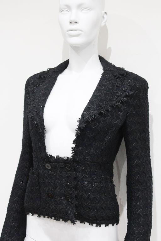 Chanel low plunge fantasy tweed black jacket, c. 2005 3
