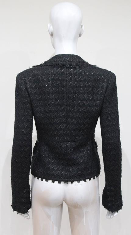Chanel low plunge fantasy tweed black jacket, c. 2005 4