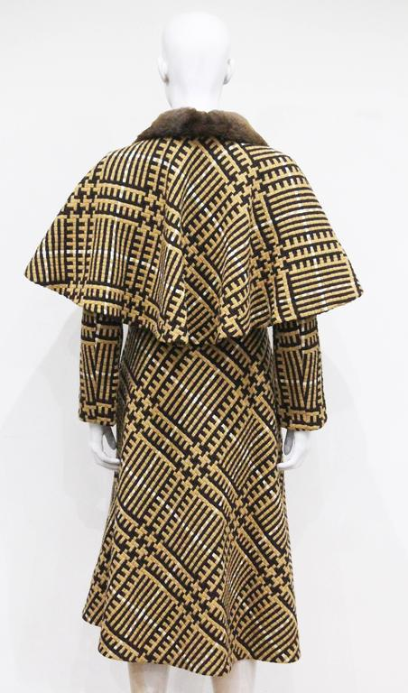 Henri Jean Tweed Coat With Cape And Fur Collar, c. 1970s  For Sale 1