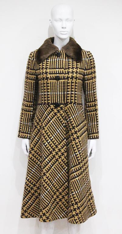 Henri Jean Tweed Coat With Cape And Fur Collar, c. 1970s  For Sale 2