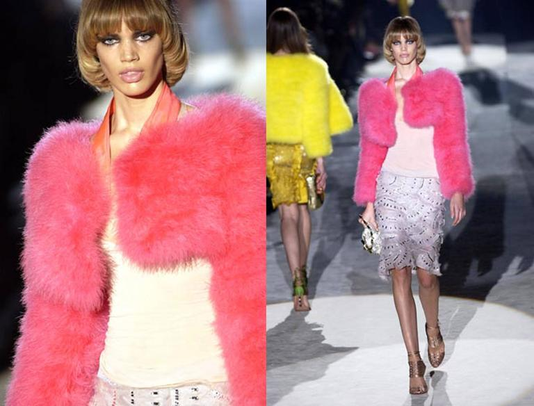 Tom Ford for Gucci Hot Pink Marabou Bolero, c. 2004 For Sale 2