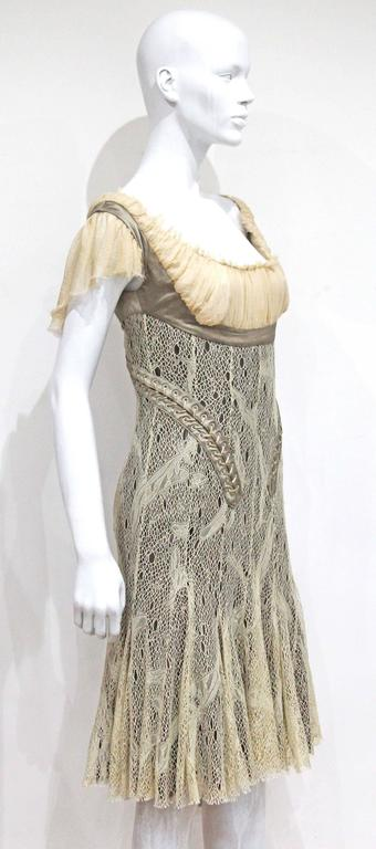 Alexander McQueen corset lace and chiffon cocktail dress, c. 2002  In Good Condition For Sale In London, GB