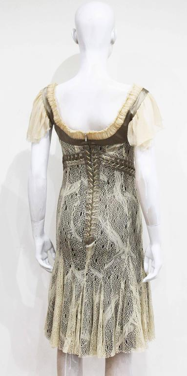 Women's Alexander McQueen corset lace and chiffon cocktail dress, c. 2002  For Sale