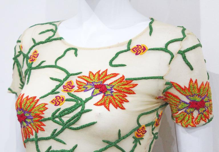 Yohji Yamamoto hand embroidered sheer cotton top, c. 1990s  3