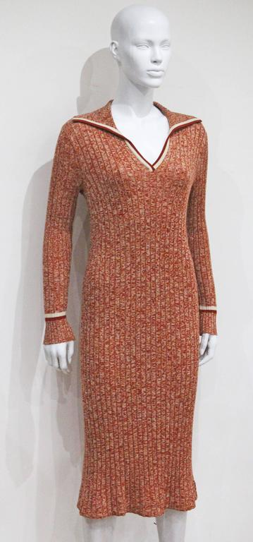 Celine nautical style rib knit dress, c. 1970s 2