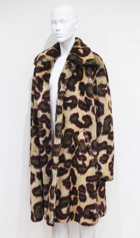 Black Vivienne Westwood Men's faux fur cheetah print coat, c. 1989 For Sale