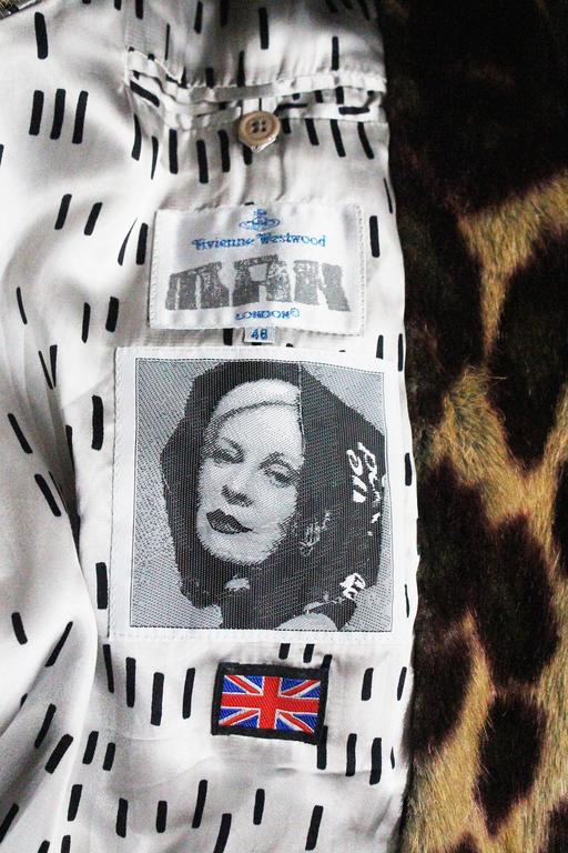 Vivienne Westwood Men's faux fur cheetah print coat, c. 1989 For Sale 5