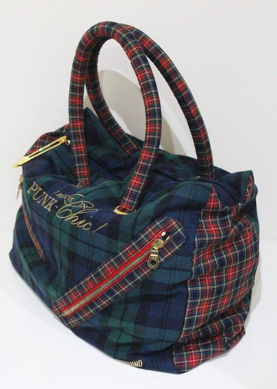 Black Moschino tartan Punk Chic! large tote bag with purse, c. 1990s  For Sale