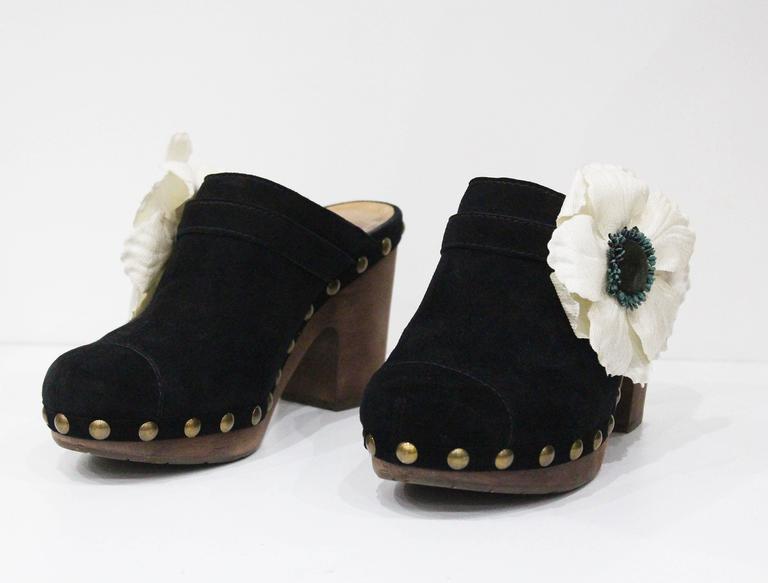 Black Chanel black suede wooden platform clogs, size 38, c. 2010  For Sale