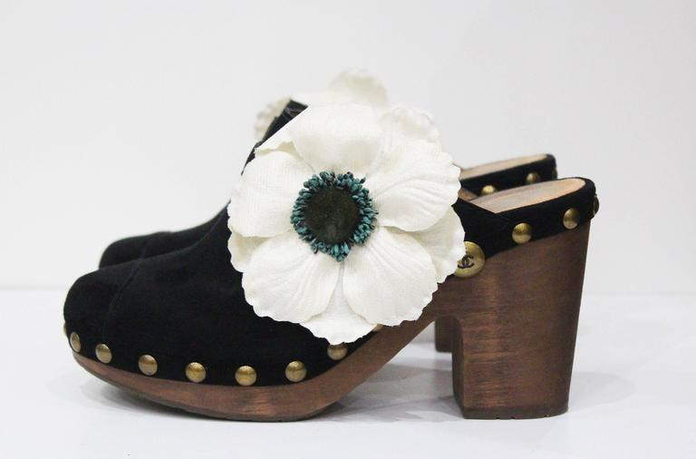 Chanel black suede wooden platform clogs, size 38, c. 2010  In Good Condition For Sale In London, GB