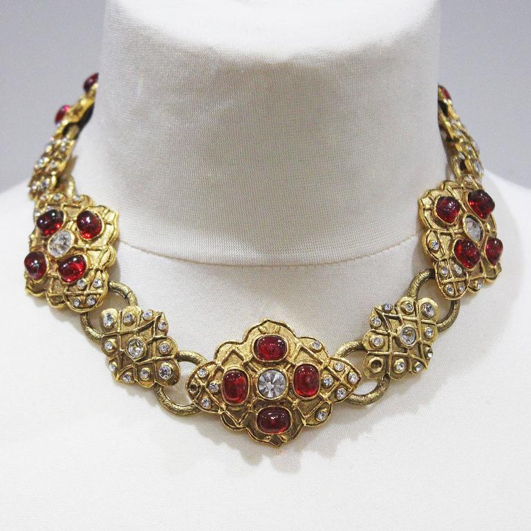 Maison Gripoix for Chanel choker necklace and earrings, c. 1980s 3