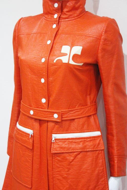 Red Courreges orange vinyl coat dress, c. 1970