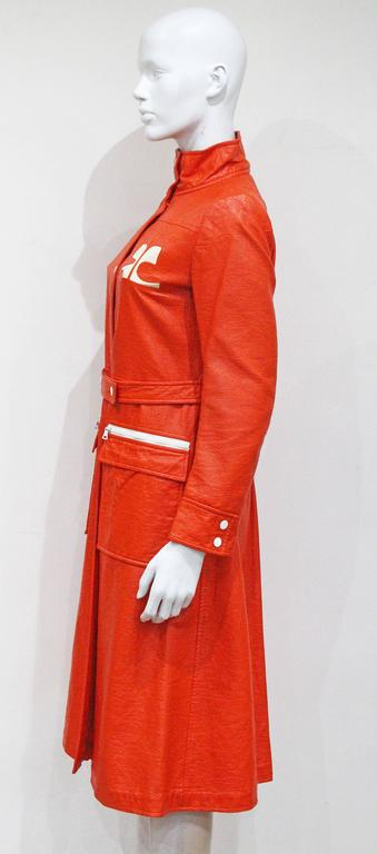 Courreges orange vinyl coat dress, c. 1970 In Good Condition For Sale In London, GB