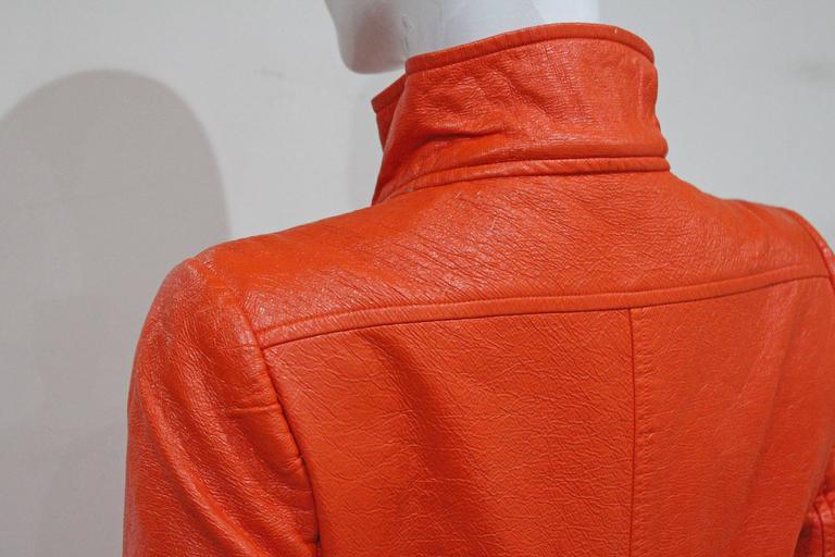 Courreges orange vinyl coat dress, c. 1970 6