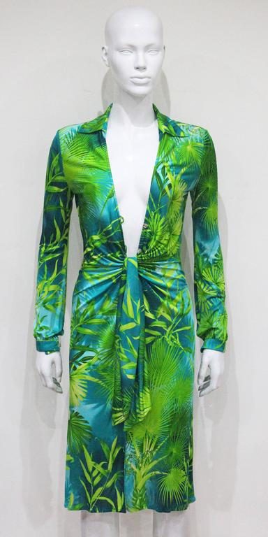 Gianni Versace Jungle Print Silk Jersey Low Plunge Dress
