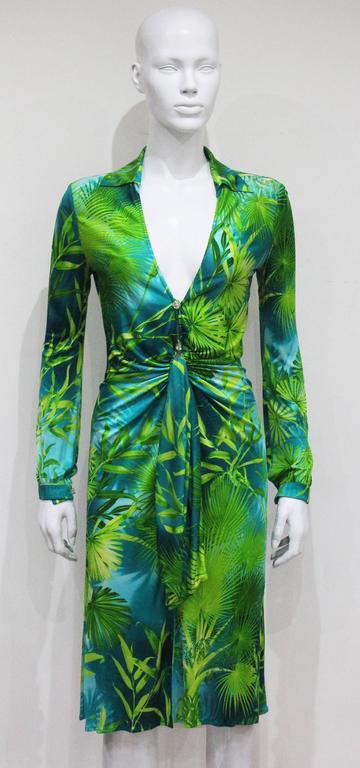 Gianni Versace Jungle Print Silk Jersey Low Plunge Dress