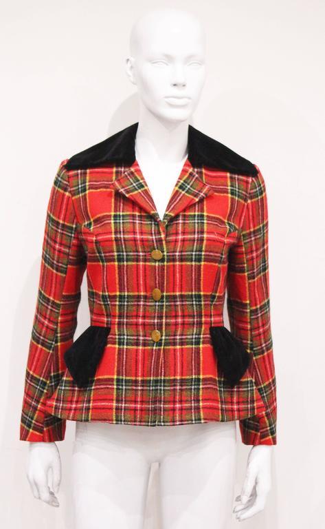 Vivienne Westwood tartan and velvet tailored jacket, c. 1994  For Sale 1