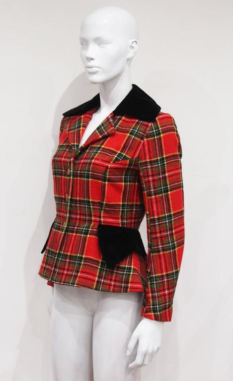 Women's Vivienne Westwood tartan and velvet tailored jacket, c. 1994  For Sale
