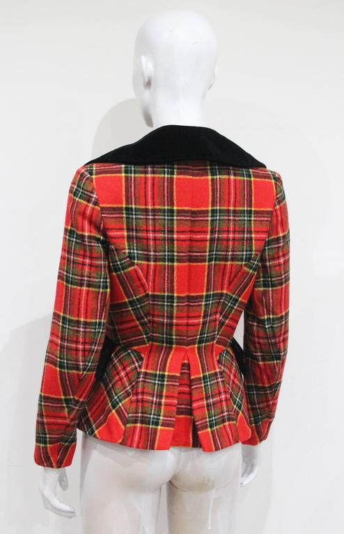 Vivienne Westwood tartan and velvet tailored jacket, c. 1994  In Excellent Condition For Sale In London, GB