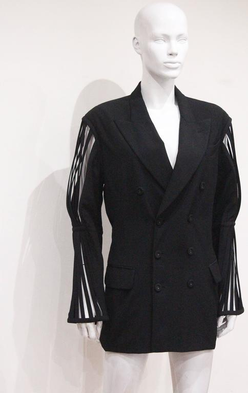 Black Jean Paul Gaultier double breasted blazer jacket with caged sleeves, c. 1989 For Sale
