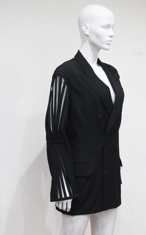 Jean Paul Gaultier double breasted blazer jacket with caged sleeves, c. 1989 In Excellent Condition For Sale In London, GB