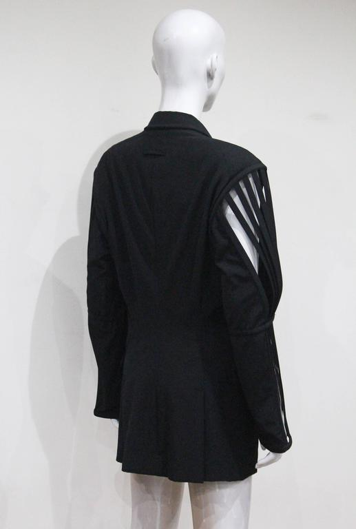 Women's or Men's Jean Paul Gaultier double breasted blazer jacket with caged sleeves, c. 1989 For Sale