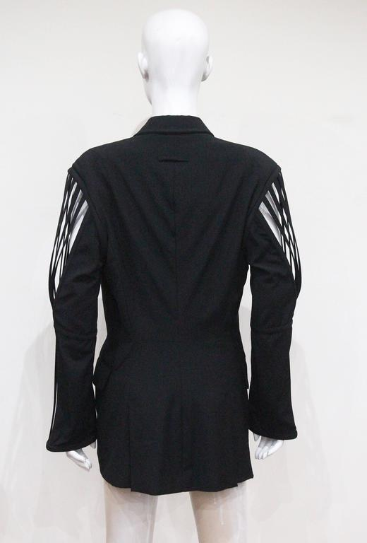 Jean Paul Gaultier double breasted blazer jacket with caged sleeves, c. 1989 For Sale 1