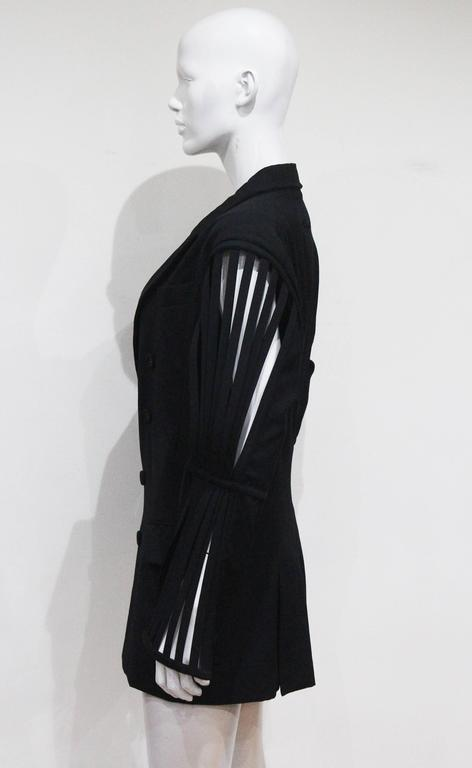 Jean Paul Gaultier double breasted blazer jacket with caged sleeves, c. 1989 For Sale 2