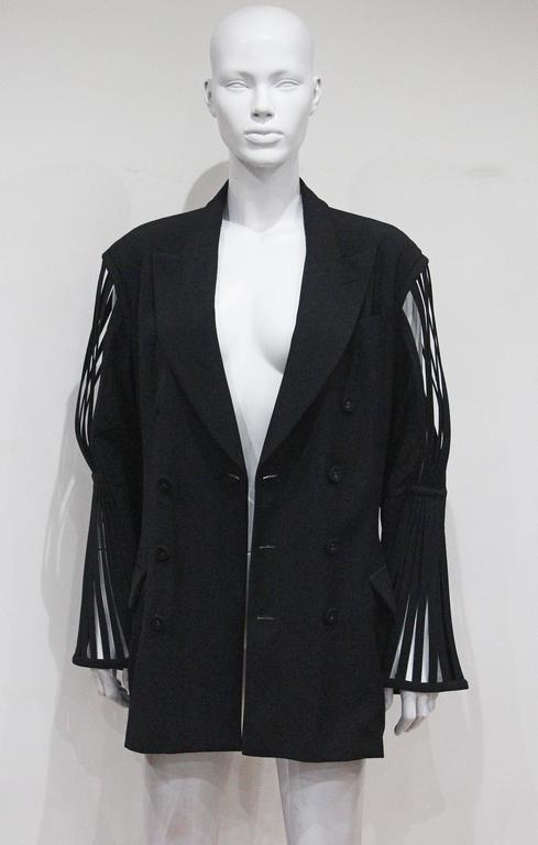 Jean Paul Gaultier double breasted blazer jacket with caged sleeves, c. 1989 For Sale 4