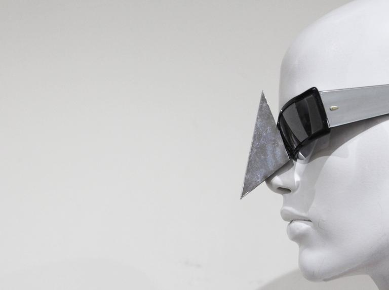A very rare pair of nose shield sunglasses by Alain Mikli, made in 1988.