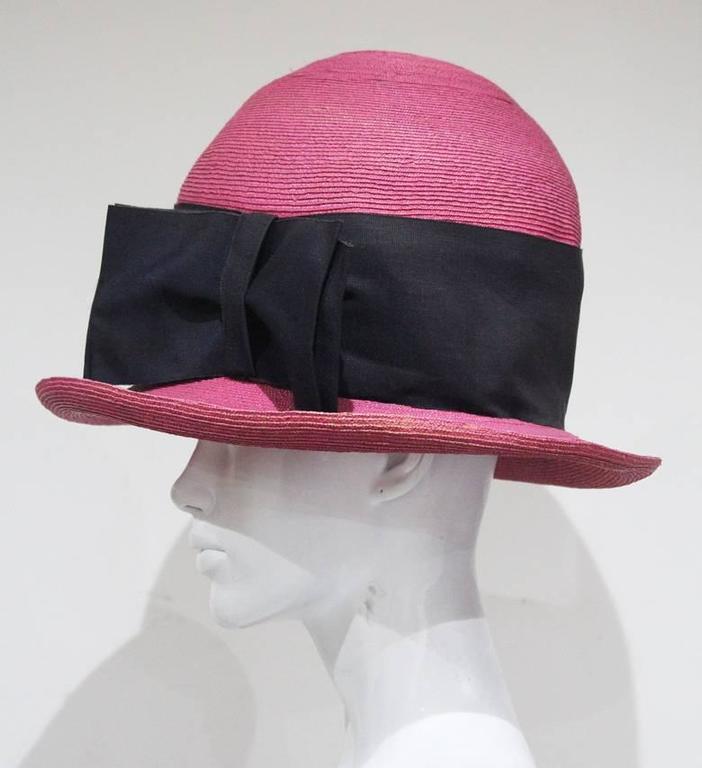 Black Vivienne Westwood mens oversized pink straw hat, c.1990s For Sale