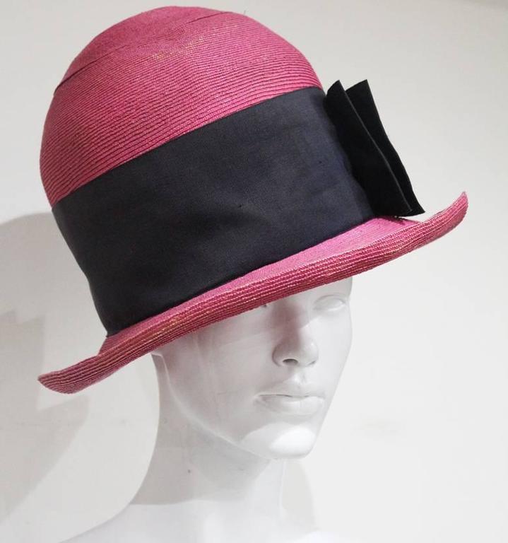 Men's Vivienne Westwood mens oversized pink straw hat, c.1990s For Sale