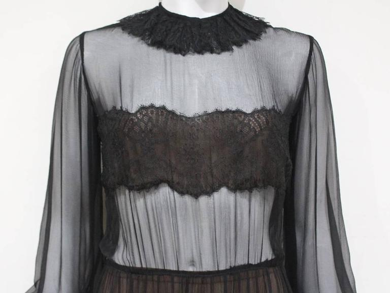 Black Yves Saint Laurent Haute Couture chantilly lace and chiffon evening gown, c.1970 For Sale